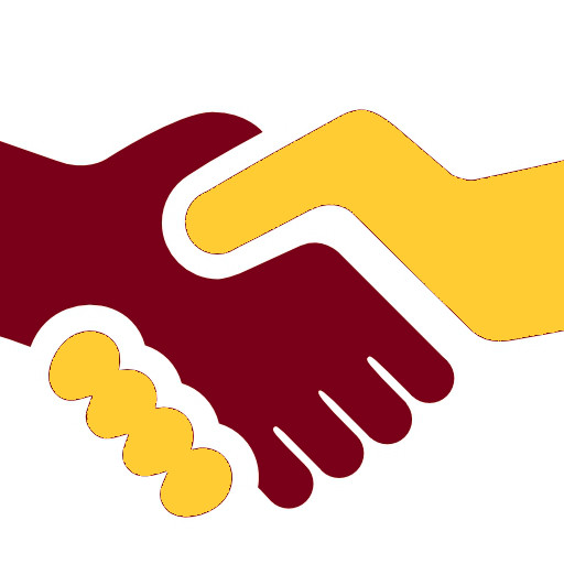 Maroon and gold shaking hands